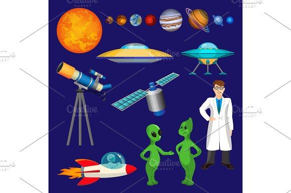 Set of planets, scientist, flying rocket, speaking aliens, telescope vector