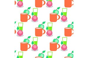 Seamless Pattern with Red Mug, Glass and Apples.