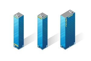 Vector isometric skyscrapers icons.