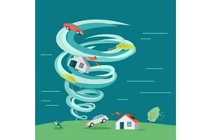 Natural Disaster Flat Design Vector Illustration