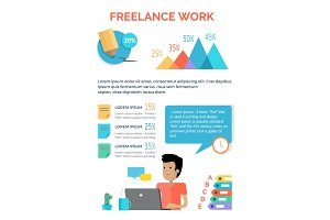 Freelance Work Charts above Male Person at Laptop