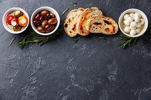 Olives, Mozzarella and Ciabatta