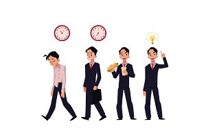 Young businessman, employee in various business situations, career concept