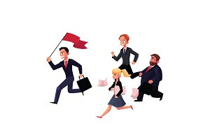 People running after leader holding flag, business success, career concept