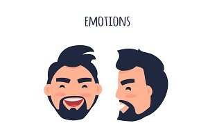 Happy Emotion. Face from Different Angles Vector
