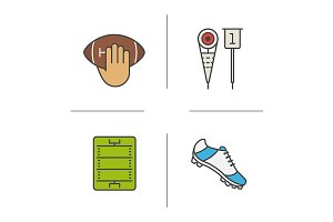 American football. 4 icons. Vector