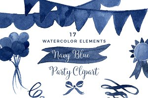 Navy Blue Watercolor Party Clipart
