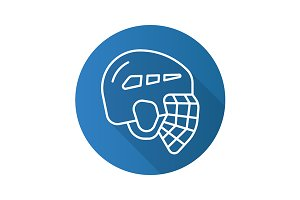 Hockey helmet icon. Vector