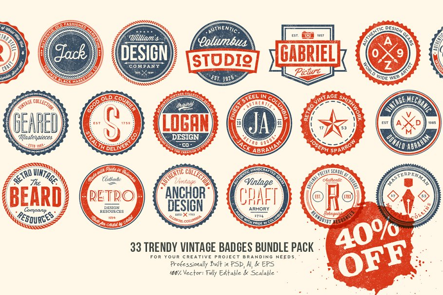 33 Trendy Vintage Badges Bundle Pack in Logo Templates - product preview 8