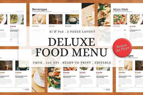 Deluxe Food Menu Bonus A4 Flyer