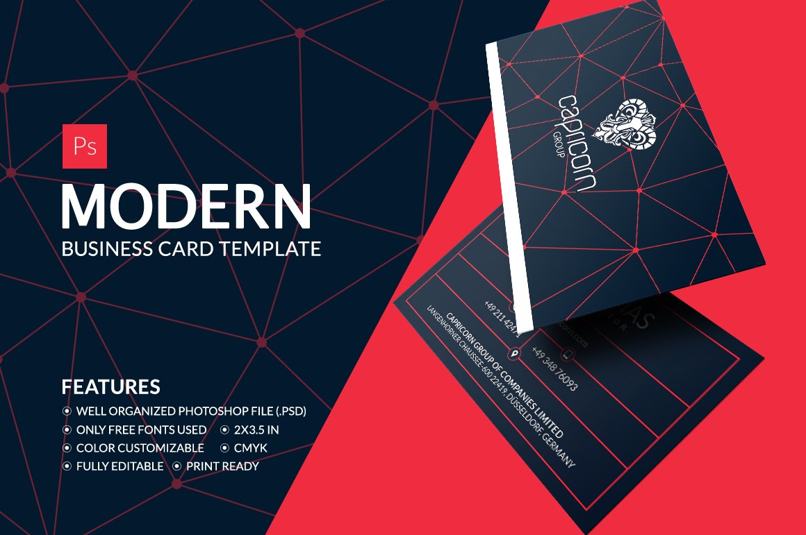 Modern business card business card templates creative market reheart Image collections