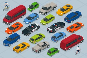 Flat 3d isometric high quality city transport car icon set