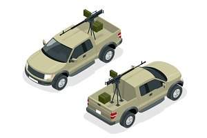 Isometric model of pick-up truck armed with machine gun