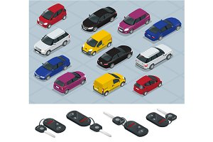 Isometric Car and  keys icons