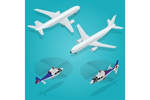 Passenger Airplane.  Helicopter. Isometric Transportation.