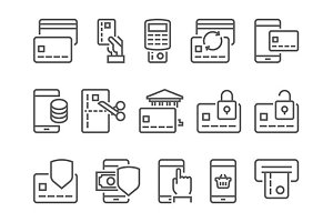 Pay on line and mobile banking icons