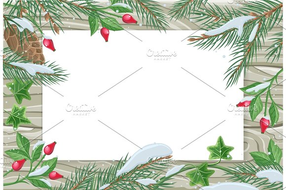 Vector Frame With Pine Tree Sweetbrier Brunches