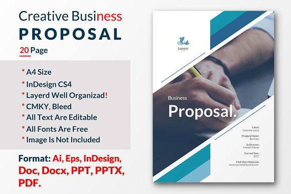 creative business proposal template brochure templates creative market - Business Proposal Template
