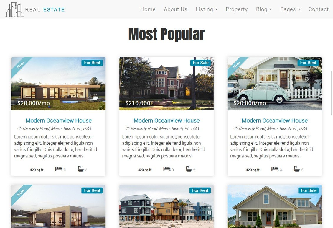 Real Estate Theme - Dream House ~ Bootstrap Themes ~ Creative Market