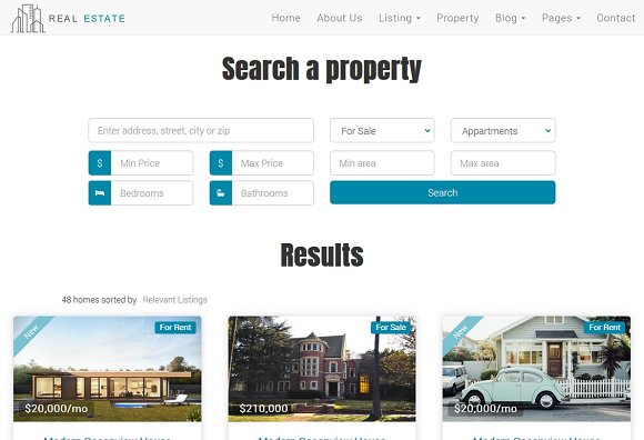 Real Estate Theme - Dream House in Bootstrap Themes - product preview 2