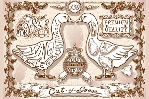 Vintage Page of English Cut of Goose