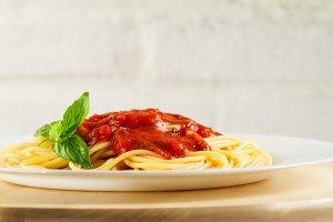 Tasty beautiful italian pasta, close
