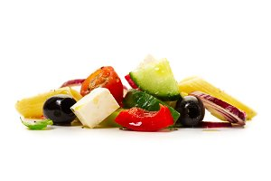 Tasty beautiful greek salad, close