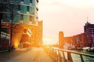 Beautiful sunset in city. Hamburg