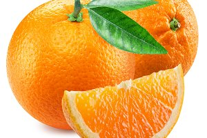 Two oranges and segment of fruit.