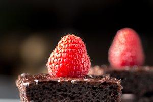 Pieces of Dark chocolate cake