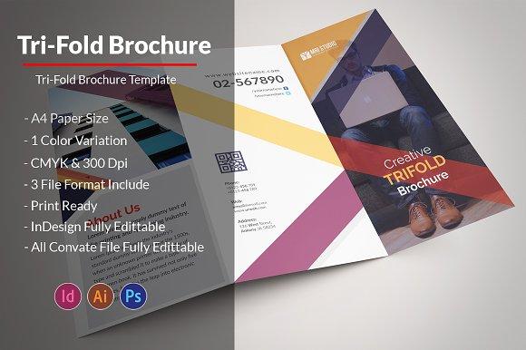 Creative TriFold Brochure Brochure Templates Creative Market - Three fold brochure template