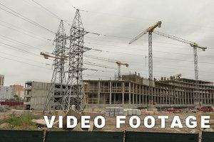 Construction of a building. Time-lapse shot