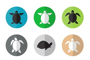 Vector group of 9 turtle.
