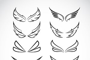 Vector black wing 10 icons.