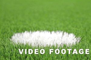 Soccer penalty point. Close-up, slider shot