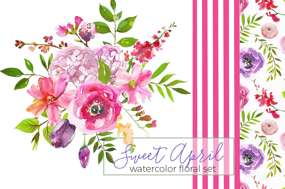 Sweet April Watercolor Flowers ~ Illustrations ~ Creative Market