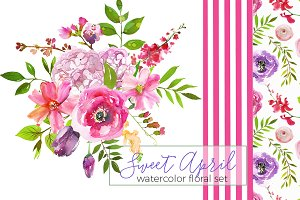 Sweet April Watercolor Flowers