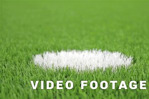 Soccer penalty point. Close-up, diagonal slider shot