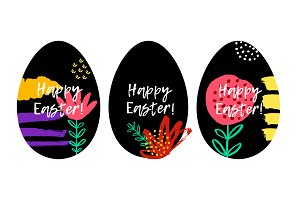 Happy Easter greeting cards with egg