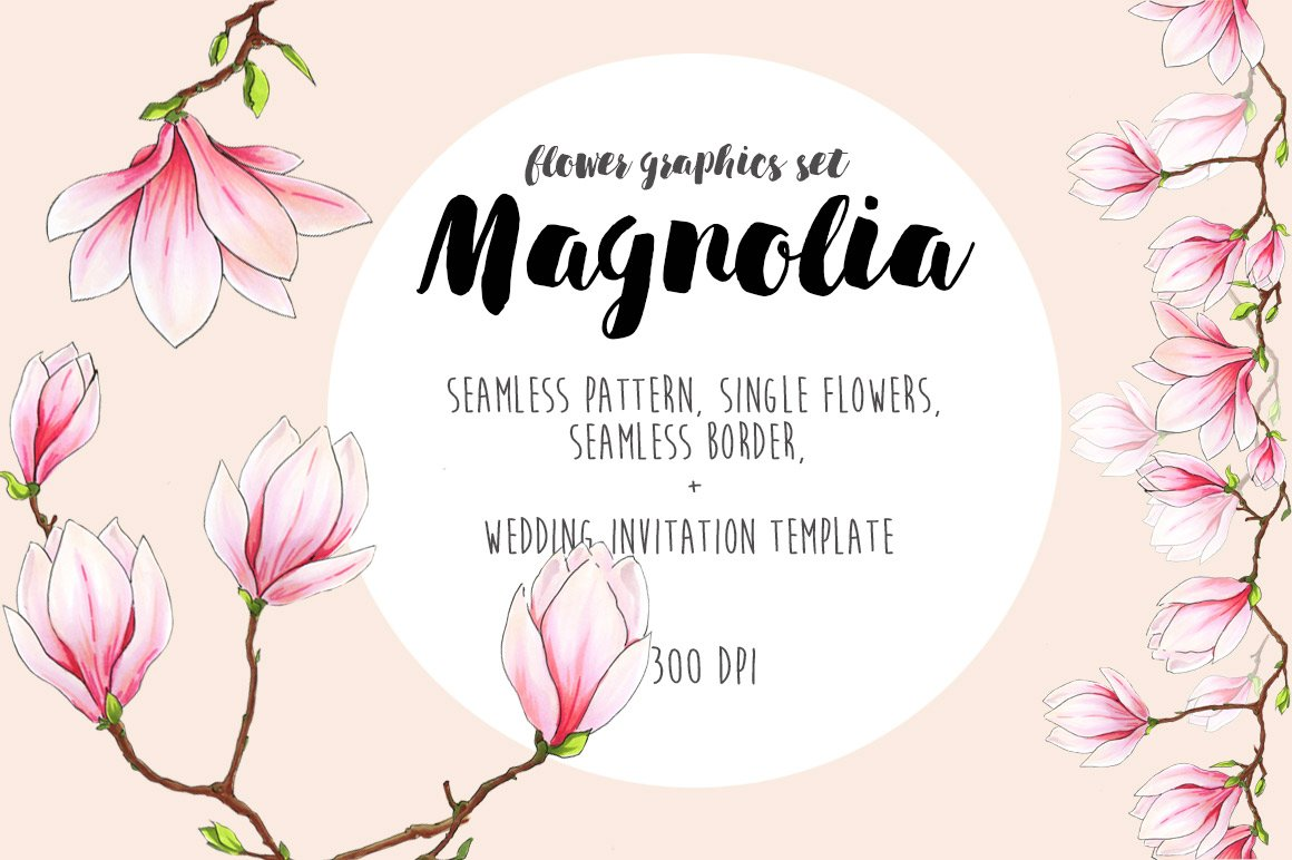 Magnolia flower graphics set graphic objects creative market maxwellsz