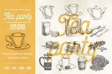 Hand drawn tea party illustrations