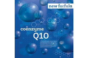 Coenzyme Q10. Transparent Bubbles