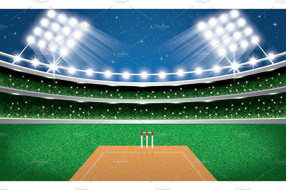 Cricket Stadium With Neon Lights Illustrations