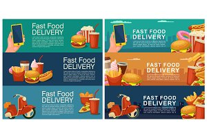 Six horizontal banner for fast food delivery.