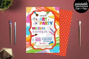 Art Party Birthday Invitation