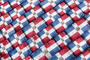 Domincan Repulbic Flag Urban Grunge Pattern