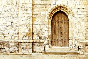 Old gothic portal door.