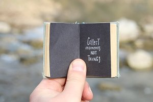 Collect moments not things, vintage book and text