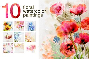 10 Floral watercolor posters