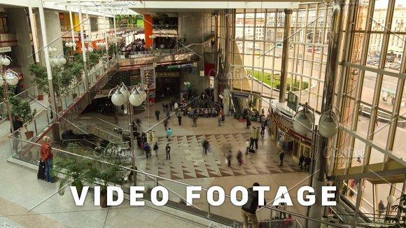 Railway station, people motion. Zoom, slider, time-lapse shot